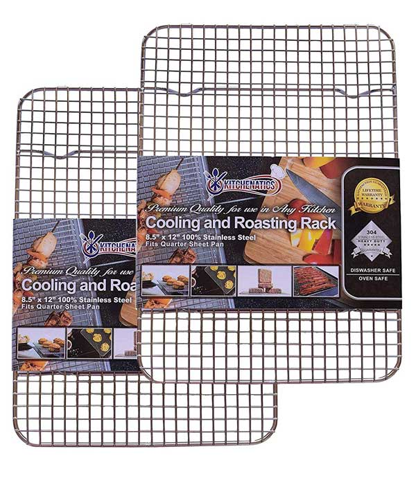 Stainless Steel Cooling, Baking & Roasting Small Wire Racks, 8.5 x 12 Quarter Sheet Size, Set of 2