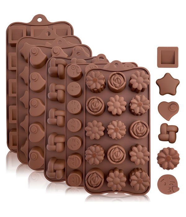 Silicone Candy and Chocolate Molds: 6 Pack