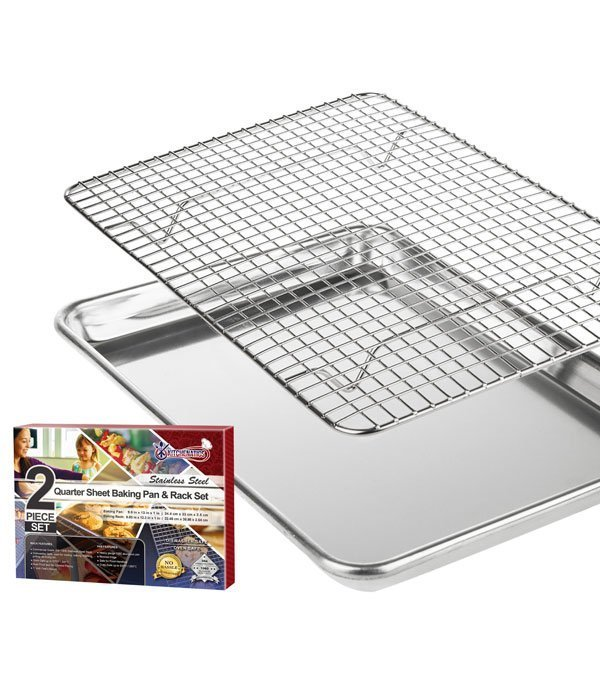 KITCHENATICS Quarter Sheet Size Roasting & Baking Pan with Cooling Rack