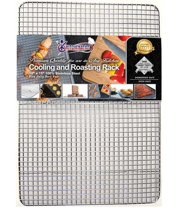 KITCHENATICS Commercial Grade Stainless Steel Cooling and Roasting Rack Heavy Duty Thick-Wire Grid, 10 x 15 rack, fits Jelly Roll Pan