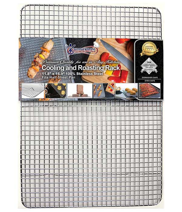 KITCHENATICS Professional Grade Stainless Steel Cooling and Roasting Wire Rack fits Half Sheet Baking Pan