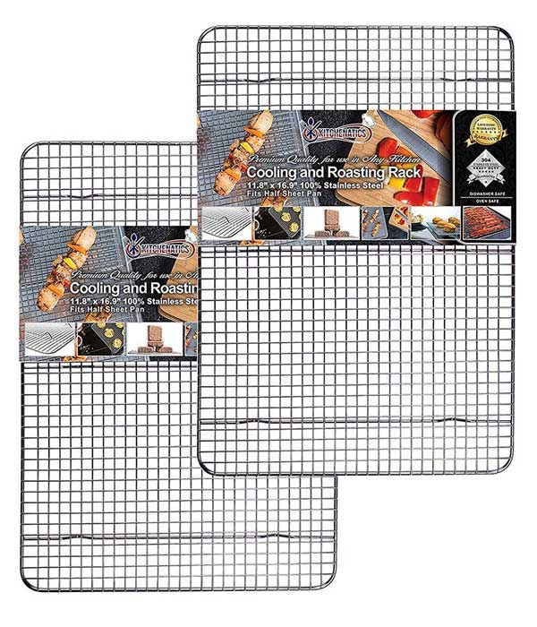 2-set 11.8 x 16.9 Cooling, Roasting & Baking Rack fits Half Sheet Pan
