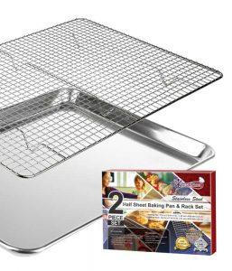 Half sheet baking pan and rack