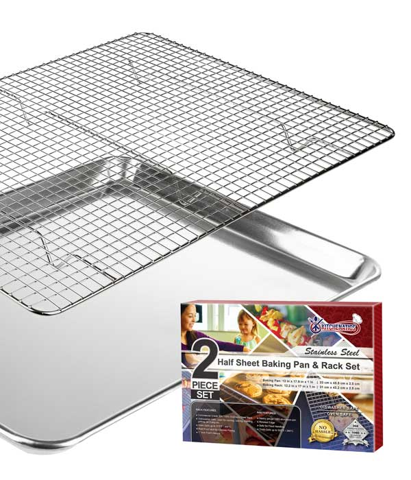KITCHENATICS Half Sheet Baking Pan with Cooling Rack