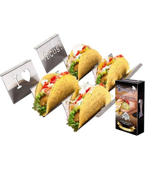 Stainless Steel Taco Holder Stand: 2 Rack Metal Tray Holders