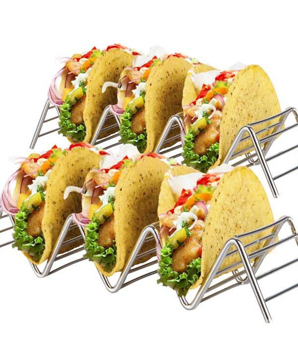 Stainless Steel Taco Holder Stand: 2 Wire Metal Tray Holders