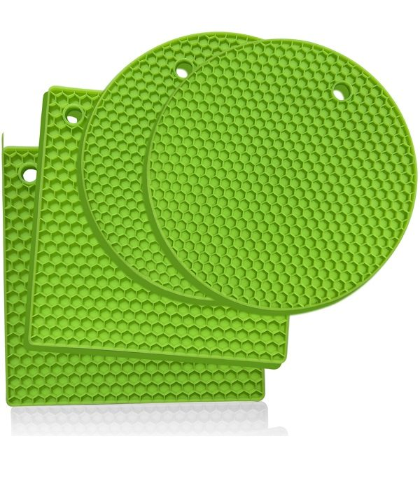 Lime green silicone trivets