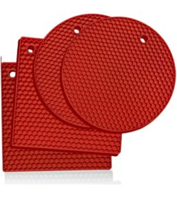 red silicone trivet mats