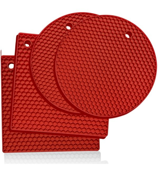 red silicone trivets