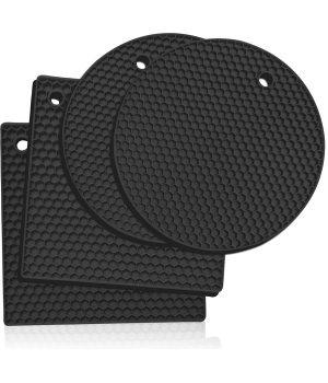 Black silicone trivet mats