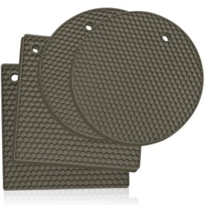 Grey silicone trivet mats