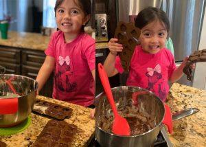 making homemade chocolates