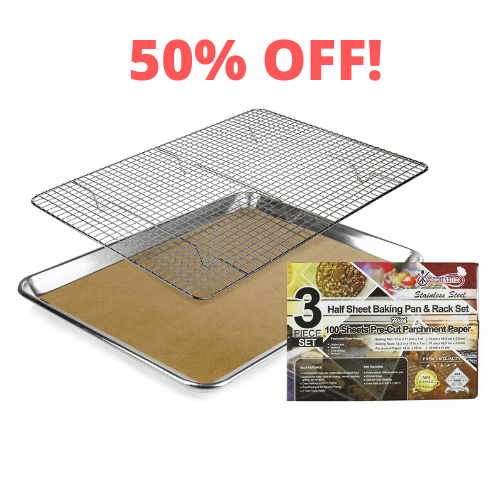 Baking pan with cooling rack