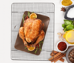 Meal planning_roasted chicken on grill rack