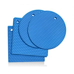 blue silicone trivets