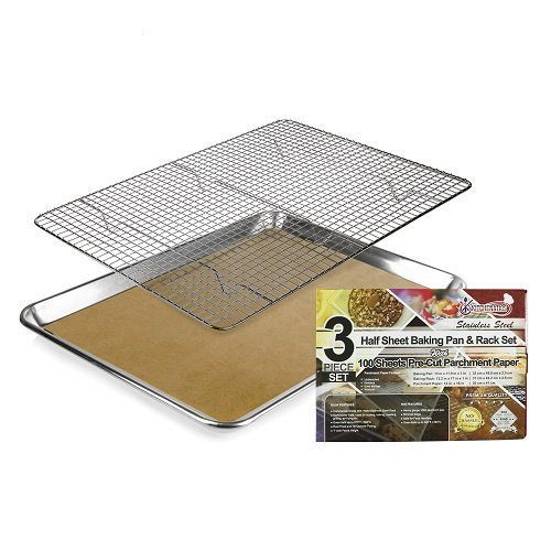 half sheet baking pan and rack with parchment paper