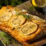 Homemade Healthy Grilled Salmon with Lemon for Diabetic Diet