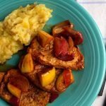 Easy Pork Chops recipe with apples and mashed potatoes