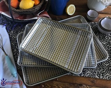 stacked baking sheet and oven racks