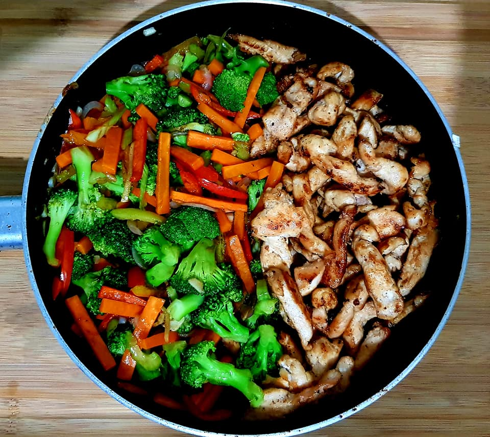 Recipe for stir-fried rice chicken