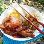 Korean recipe Salmon Belly Bibimbap