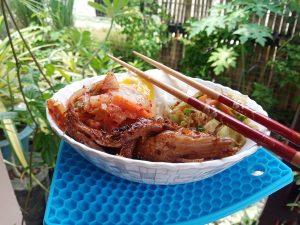 Korean recipe Salmon Bibimbap