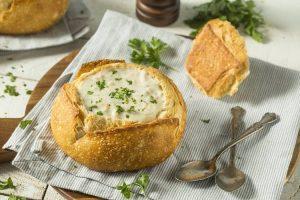 New England Clam Chowder in Sourdough Bread