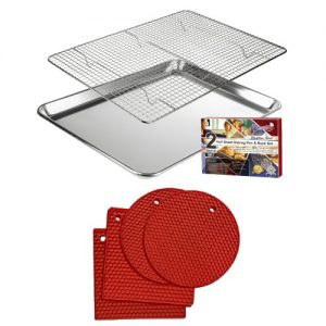 half sheet baking pan and rack with red silicone trivets