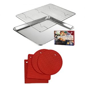 jelly roll pan and rack with red trivets