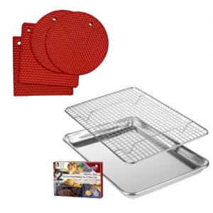 quarter pan and rack with red trivets