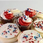 Red, white, and blue homemade cookies and cupcakes