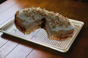 Keto Carrot Cake recipe on cake cooling rack