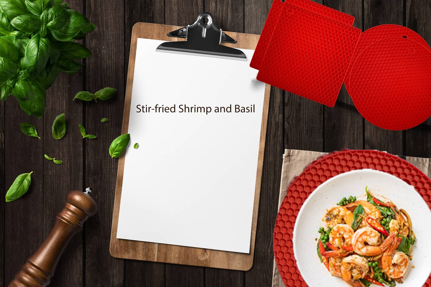 Stir-fried Shrimp with Basil recipe