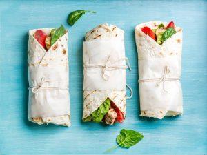 Healthy snacks chicken wraps