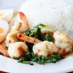 Stir-fried shrimp with basil