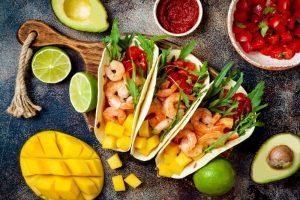Shrimp tacos with mango salsa1