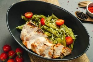 Keto Pesto Chicken Pasta with Kale