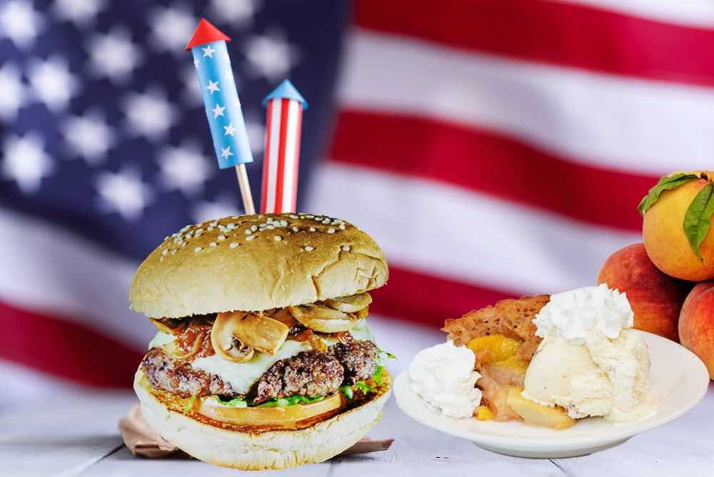 Fourth of July recipes Burger and Peach Cobbler